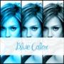 3 azules fotos collage de texto +