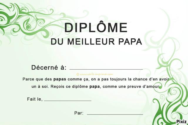 Diplome a imprimer fete des peres - Diplome du super papa a imprimer gratuit ...