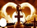 ange avec des ailes et visage sur la tombe