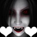 Visage de vampire avec 2 coeurs