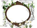 Cadre ovale sur mur de briques