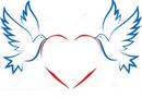 2 colombes et un coeur  2 photos
