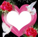 un coeur avec 2 colombes et 2 roses 1 photo