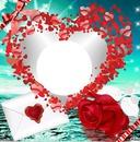 corazon con rosa