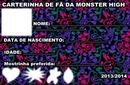 Carterinha de fã MH (Monster High)