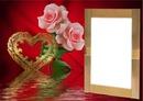 Cadre 1 photo avec coeur et roses