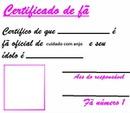 certificado de fã