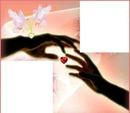 2 mains d'amoureux avec 2 colombes 2 photos