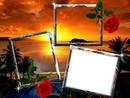 cadre couché de soleil romantique*