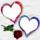 2 coeurs dans la neige avec une rose 2 photos