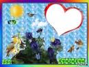 fleurs de pensée (fait par Gino Gibilaro) avec coeur,oiseaux,papillons,soleil