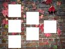 cadre pour six photos sur mur en briques