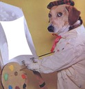 chien peintre