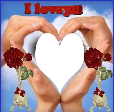 I Love You avec mains qui forment un coeur et 2 roses  1 photo