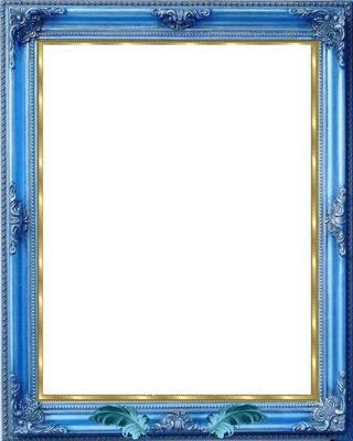 montage photo cadre bois bleu avec dorure pixiz. Black Bedroom Furniture Sets. Home Design Ideas