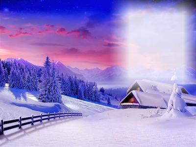 montage photo paysage montagne sous la neige pixiz. Black Bedroom Furniture Sets. Home Design Ideas