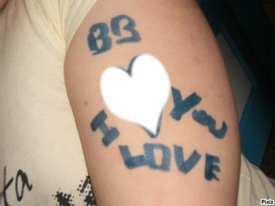 手绘纹身love图案简单