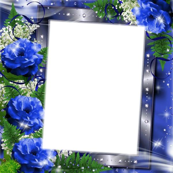 montage photo cadre fleurs bleu pixiz. Black Bedroom Furniture Sets. Home Design Ideas