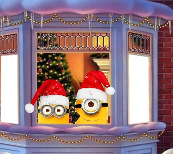 montage photo rp minions weihnachten pixiz. Black Bedroom Furniture Sets. Home Design Ideas