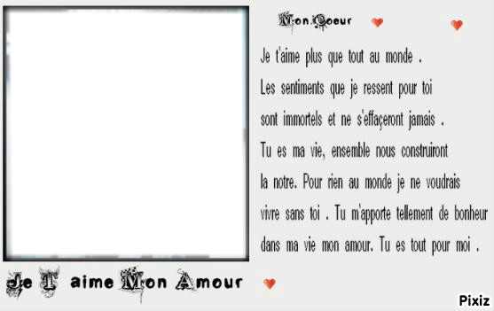 Montaje Fotografico Je Taime Mon Amour Pixiz