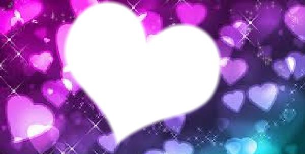 Photo montage fondo de corazones 1 foto en marco de - Marcos de corazones para fotos ...