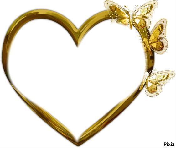 Montage photo i love you cadre avec papillon et coeurs dor pixiz - Images avec des coeurs ...