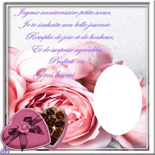Montaje Fotografico Cadre De Rose Avec Texte Perso Pour Un