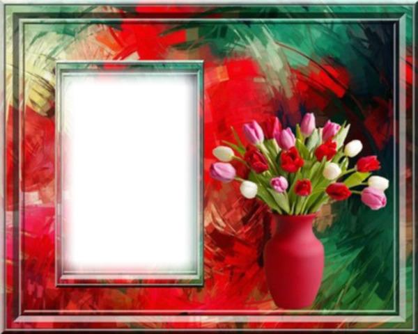 montage photo quot cadre avec un bouquet quot pixiz