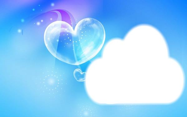 Montage photo fond d'ecran bleu avec coeur - Pixiz
