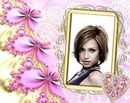 Gold frame diamond Heart Pink Flowers