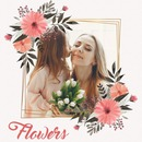 Rozā ziedi uz zelta rāmja