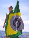 Brazilian woman and flag