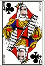 Queen of clubs kort 2 bilder Face
