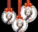 3 božićne kuglice na zamagljenoj pozadini - prozirna PNG verzija