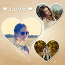 3 hearts with vintage background