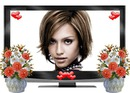 Flat screen, flowers and hearts
