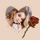 Corazón y rosa roja