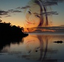 空と海の間のモーリシャスの夕暮れ