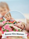 Fête des mères avec des fleurs roses et un texte