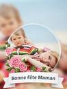 Den matek s růžovými květy a textem