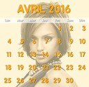 Calendrier Avril 2016 avec photo en fond personnalisable