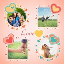 4 pictures collage with hearts