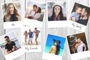 8 polaroids on customizable background