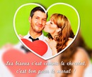 Heart shaped picture with blurred background and text
