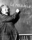 Text on blackboard with Albert Einstein