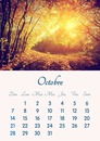 Calendar October 2018 printable in A4 format