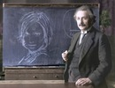 Chalk drawing on a blackboard with Albert Einstein
