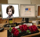 Desk Computer screen Roses Scene
