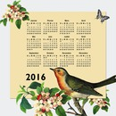 Natural 2016 calendar with bird and butterfly