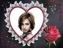 ♥ Lace Hjerte Red Rose